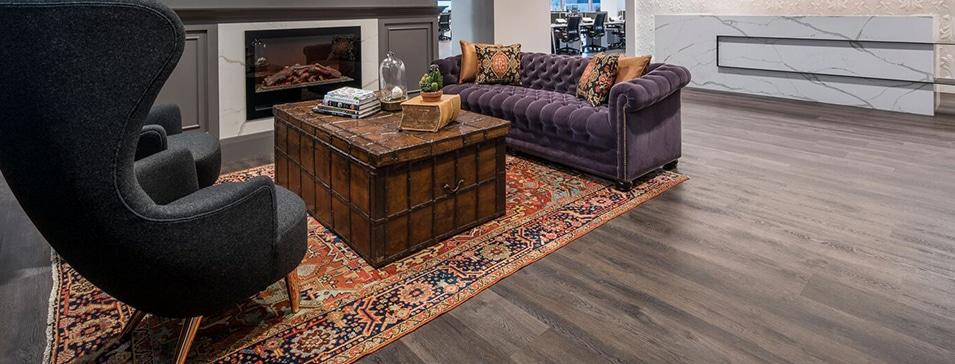 Rigid core LVT flooring in commercial applications